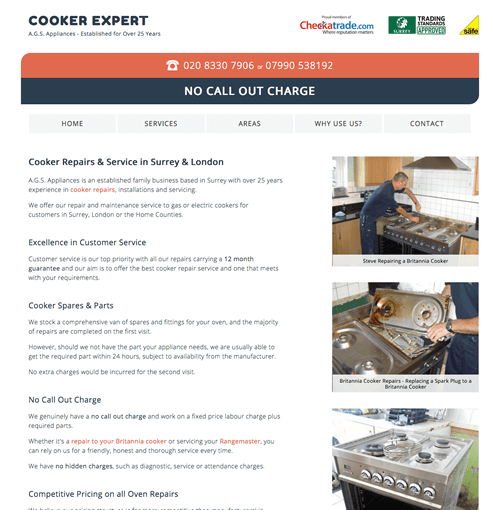 New Web Design for Cooker Repair Company