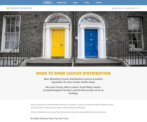 Website design for a Leaflet Distribution Company
