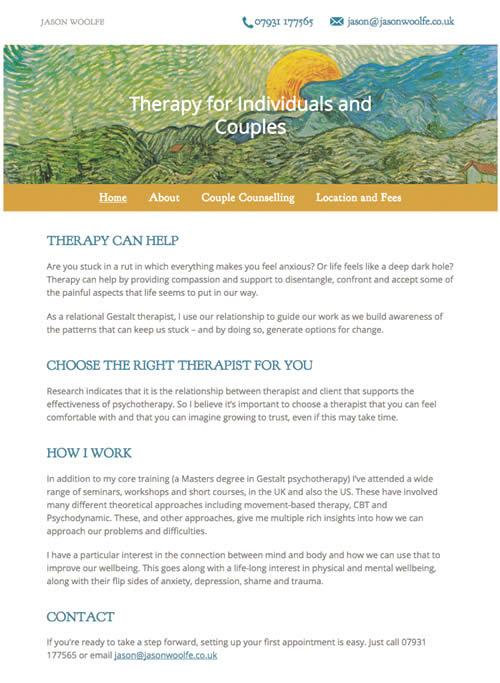 Website Design for a London Therapist