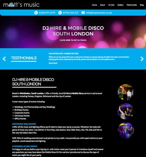 Mobile Friendly Website Design for a Mobile DJ in Wimbledon